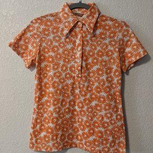 VNT Bright Orange/white preppy collard top